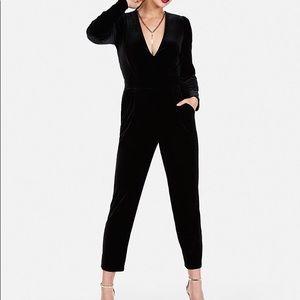 New express Long Sleeve Velvet Jumpsuit